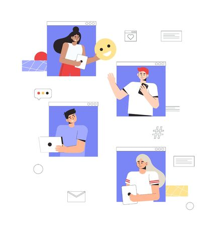 Concept of online communication and social networks. A group of people communicate with each other online, hold smartphones and laptops. Ilustração