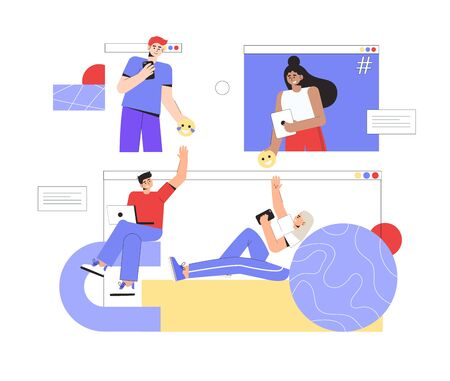 Concept of online communication and social networks. A group of people communicate with each other online, hold smartphones and laptops. Иллюстрация