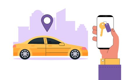 Modern carsharing or car rental service concept. Hand holds smartphone with information an app to find a car location.