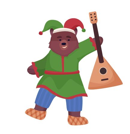 The animal character is brown, a bear in the national costume of Russia and bast shoes is dancing with a balalaika.