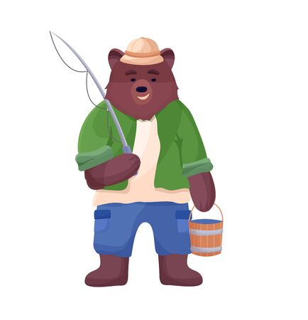 Bear character fisherman holding a bucket of fish and fishing rod in a hat, shorts and shirt. Illusztráció
