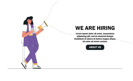 Woman recruiter is holding resume and megaphone looking for new employees. The concept we are hiring, human resources. Landing page template.