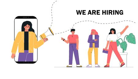 Woman shouting on megaphone or loudspeaker and recruiting new employees people to work. A group candidate is waiting in line for a job. Stock Illustratie