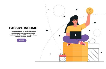 Young girl sitting on a stack money, gold coins with laptop. Passive income, investment, finance savings, freelance, distant work for banner landing page, ui, poster.