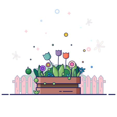 Flowers box garden in summer. Multicolored tulips and plants. Cartoon flat line style vector illustration.