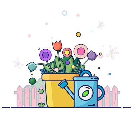Spring landscape with garden tools - color flowers, green plants, blue watering can. Cartoon flat line style vector illustration. Ilustração