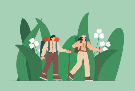 Travelers in the jungle. People, man and woman enjoy large green leaves. Concept of discovery, exploration, hiking, adventure. Ilustração