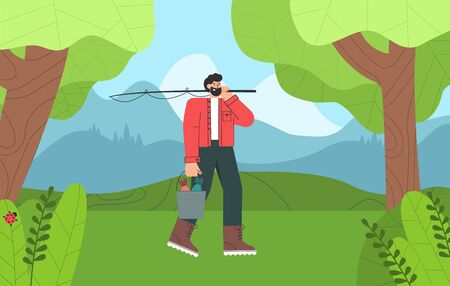 Fisherman cartoon character with beard finished fishing, holding a bucket of fish. Beautiful forests, lake and mountain. Illusztráció