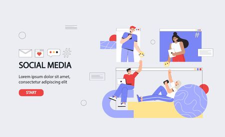 Social Media Concept for banner and website. Young men and women sitting on mobile app and using smartphone and laptop for texting message to friends.