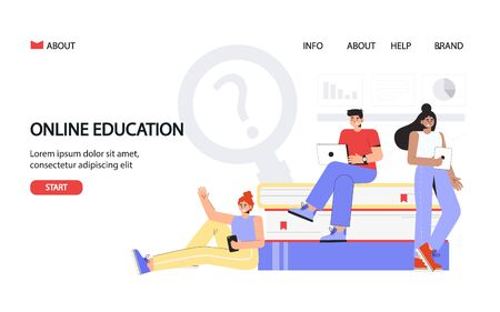 Online education concept for banner and website. Landing page template. Young students stand near large books and hold laptops and smartphones. Stock Illustratie