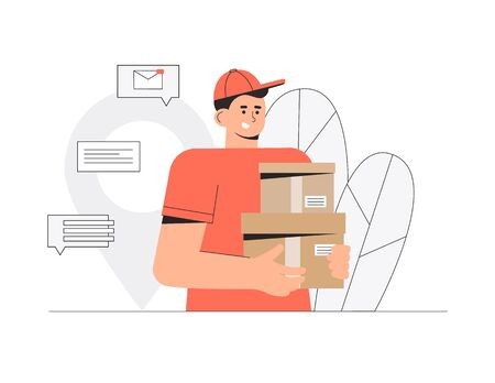 Delivery man, courier holding order box. Fast and free delivery service. Stock Illustratie