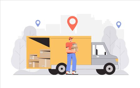Fast and free shipping. concept, delivery man holding box, truck on background. 일러스트