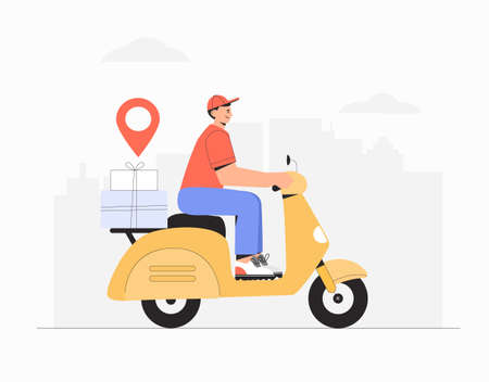 Delivery service, fast and free shipping concept, man rides a yellow scooter with a parcel box on city background.