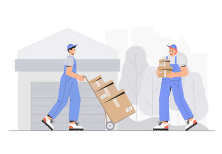 Warehouse delivery business illustration. Warehouse workers characters unloading boxes. Vector Illustration