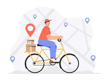 Delivery service, fast and free shipping concept, man rides a yellow scooter with a parcel box on map location background. Ilustracja