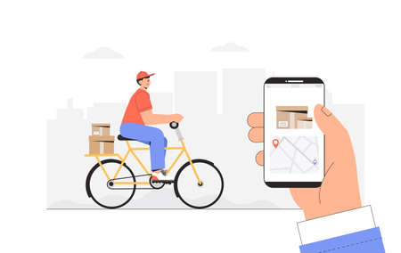 Delivery service, fast and free shipping concept. Man rides a yellow bicycle with a parcel box, hand holding phone with tracking courier's location.