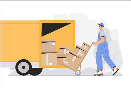 Warehouse delivery business illustration. Warehouse workers characters unloading boxes. Flat style vector illustration. Ilustração