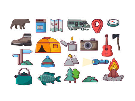 Camping icons equipment collection on white background. Autumn forest camping -campfire, tree, camping tent, bonfire, kettle, lantern, guitar, matche.