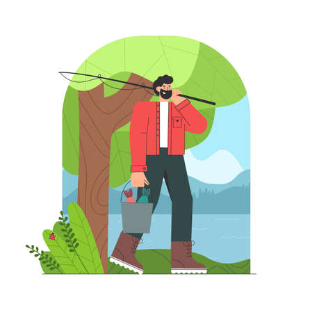 Fisherman cartoon character with beard finished fishing, holding a bucket of fish. Beautiful forests, lake and mountain. Ilustração