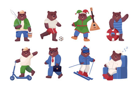 Big set of bear in different situations, animal is engaged in active sports and recreation, fishing, plays football and balalaika, rides a scooter, goes to work and skiing. Ilustrace