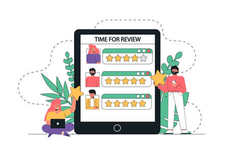 The concept of vector illustration people, customers are standing near the giant tablet and write reviews. People giving feedback, holding stars over the heads. Stock Illustratie