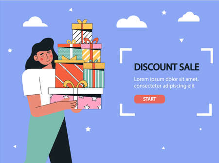 Concept of customer loyalty programs, sales, discount, bonuses. Woman hold a big gift box, special offer making purchases in the store.