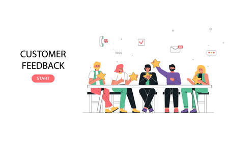 The concept of client feedback. People sit at the table, discuss and evaluate the company's services. Used on loading pages.