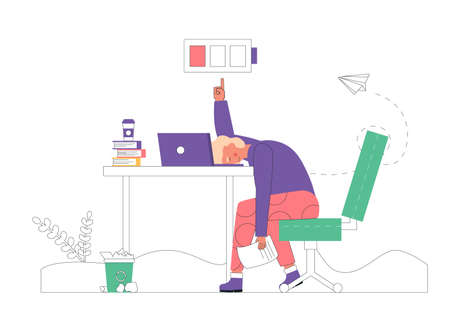 Professional burnout concept. Young exhausted male manager sits at table in the office, long work day. Frustrated worker mental health problems. Vector illustration in flat cartoon style.