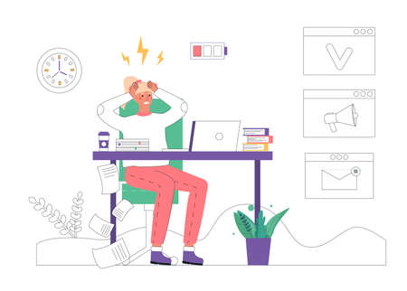 Professional burnout concept. Young exhausted woman sits at work in an office at table and holds her head in a rage. Vector illustration in flat cartoon style.