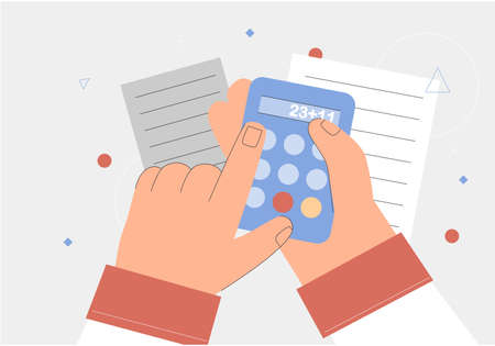 Concept of credit, Finance, mortgage, spending planning. Hand holding a calculator, documents. Flat style vector illustration.