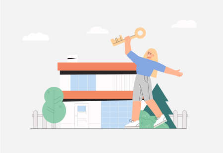 Concept of buying a residential house, real estate. Happy, young woman jumps with joy holding the key on the house background. Vector illustration in flat style.