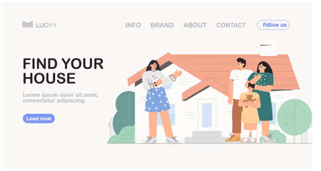 Concept of real estate Agency, sale of a residential building. Realtor shows a young family the house. House for sale. Vector illustration for banner, advertising, landing page.
