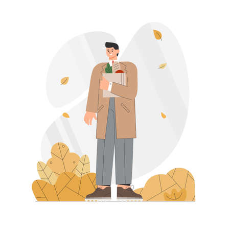 Man in coat holds paper bag with food in autumn. Flat style vector illustration.