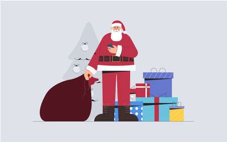 Concept of happy new year, holiday and Merry Christmas, Santa Claus holds a bag of gifts and phone, on the background a Christmas tree and gift boxes. Flat style vecftor illustration.