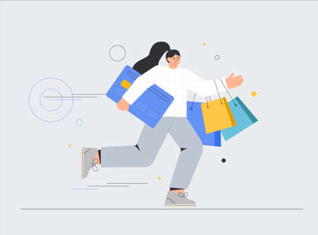 Concept of E-commerce and online shopping for bannerd, advertising, app, landing page. Woman with shopping bags and credit cards. People shop online. Flat style vector illustration.