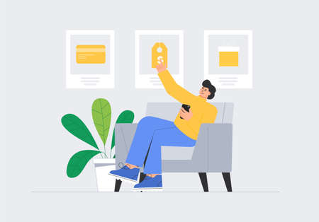 User selects best personal offer from in store - discount, gift, or cashback. Man sitting in chair at home and shopping online. User interface concept for web page, landing page, app, advertising.