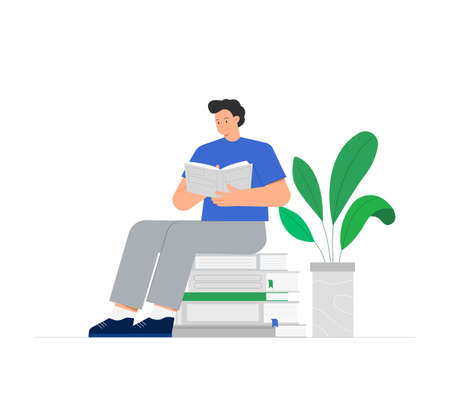 Young man is sitting on a stack of books and reading a book, near green flower in pot. Concepts of education and knowledge, book day. Trendy flat vector illustration on white background.