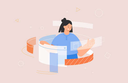 Designing Developing and programming technologies concept. Woman programmer or designer working in program. Flat style vector illustration.