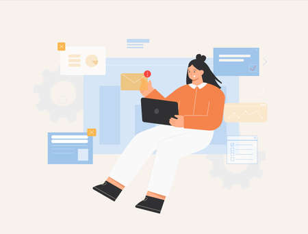 Business concept illustrations. Young woman sitting on an infographic block and opens, reading an email. Flat style vector illustration. Ilustração
