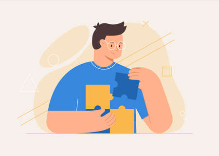 Business concept. Man connecting puzzle elements or jigsaw pieces, abstract shapes on the background. Flat style vector illustration.