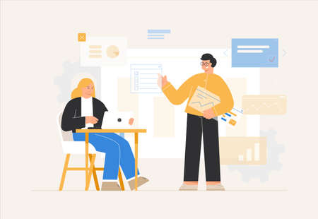 Concept of the office workflow. Business People man and woman conduct business discussions and analyze data, graphs, charts, presentations, collect statistics or prepare a report. Vector illustration.