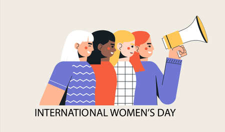 International womens day, March 8. A group of girls and women are in formation with a loudspeaker celebrating the holiday. Trendy, modern vector illustration in a flat style on a white background. Çizim
