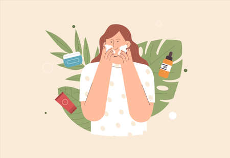 Skin care concept. Cute young woman applies cream and cleansing or moisturizing her skin. The concept of organic natural cosmetics. Flat style vector illustration.