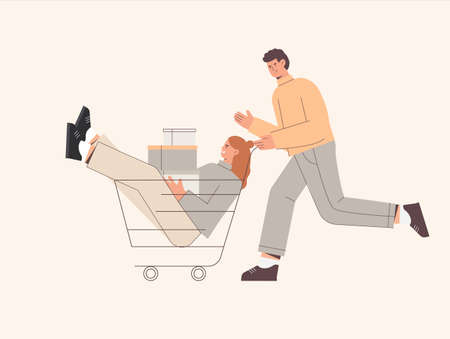 Man push shopping cart with woman holding boxes or presents, packages with purchases. Cute vector illustration in flat style.  イラスト・ベクター素材