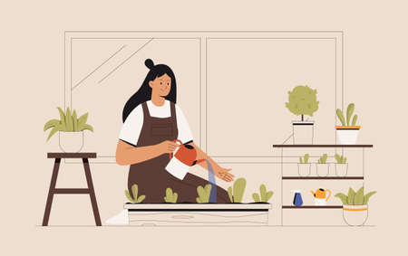 Young woman on the balcony is growing flowers or green plants in a pot. Female character holds a watering can and watering houseplants in pots or planters. Flat style vector illustration.