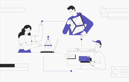 Business start up, teamwork, business concept. Business chain creation, rockets flying out of a laptop, man holding an abstract puzzle in his hands. Modern flat outline style.
