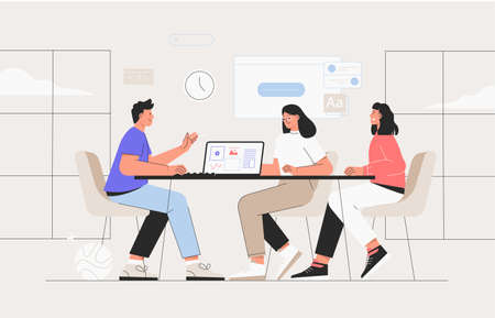 Coworking space with business people sitting at the table. They analyze charts and reports. Vector illustration for co-working, teamwork, workspace concept. Team working on project.