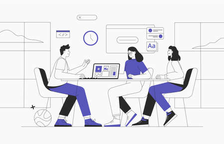 Coworking space with business people sitting at the table. They analyze charts and reports. Vector outline illustration for co-working, teamwork, workspace concept. Team working on project.