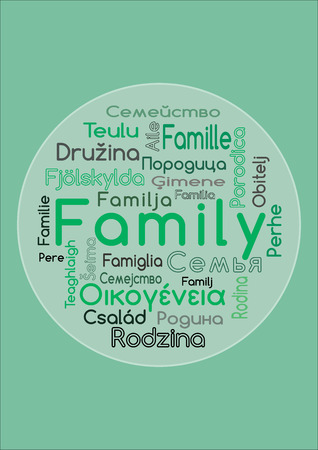 The word family in different languages 向量圖像