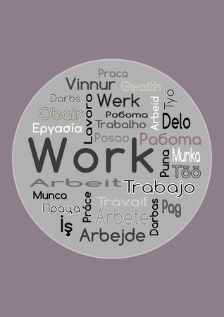 The Word Work In Different Languages Vector